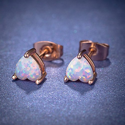 Earrings Stud Hypoallergenic Lab Created October Birthstone Opal for Girls NEW