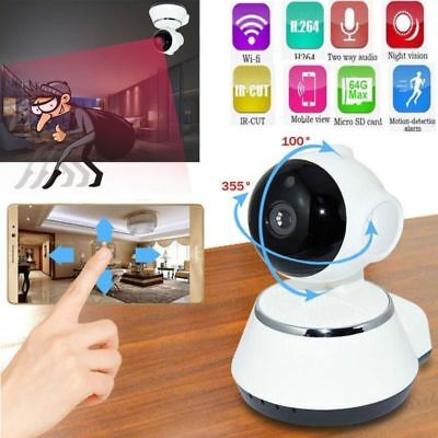 Home Baby Monitor Video Camera 720P HD WiFi Wireless IR Night Vision White