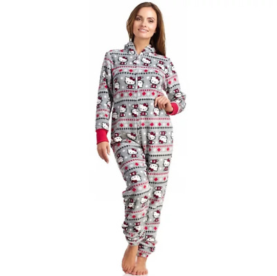 9b276d8c4 NWOT Hello Kitty Women's Holiday Footed One Piece Pajamas with Hood Gray  X-Large