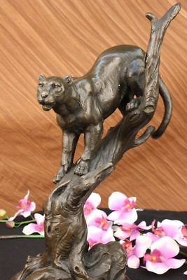 Hand Made Statue Lion Cougar Bobcat Panther Lynx Puma Art Bronze Sculpture decor