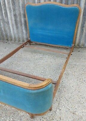 French Vintage Upholstered Double Corbeille Bed Gorgeous Teal Velvet