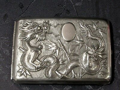 CHINESE EXPORT SILVER CIGARETTE CASE ARGENT MASSIF CHINE DRAGON 115g.