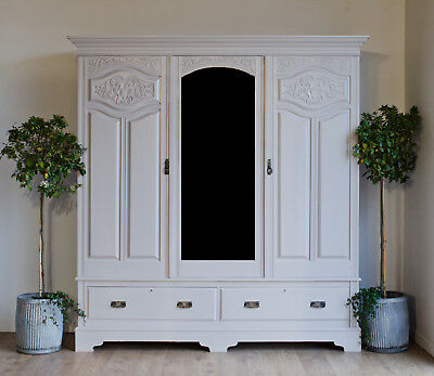 Very Large Edwardian Triple Wardrobe with Drawers Painted in Farrow & Ball
