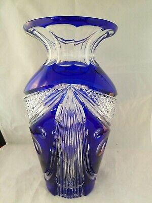 "Vtg COBALT Blue Cut To CLEAR  Crystal ? Glass  LARGE 11"" CENTERPIECE Vase"