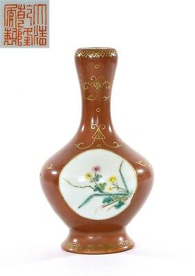 1920's Chinese Gilt Coral Ground Famille Rose Porcelain Vase Flowers Marked