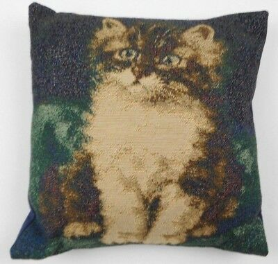 """Kitty Cat Detailed Embroidered Throw Pillow Photo Painting Art 12""""x12"""""""
