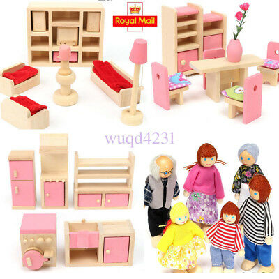 Wooden Furniture Room Set Dolls Miniature House Family For Kids Xmas Gifts Toy