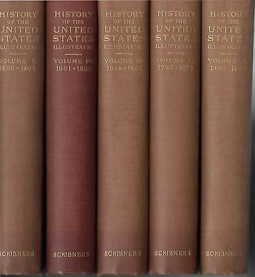 HISTORY OF THE UNITED STATES by Benjamin Andrews (5 Volumes, 1904, HC)