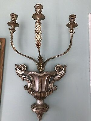 Large Antique Wooden Italian Florentine Gilt Silver Metal Tole Candelabra Sconce