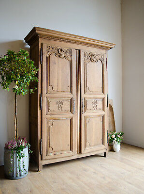 French Antique Late 18th Century Carved Light Oak Knockdown Armoire Wardrobe