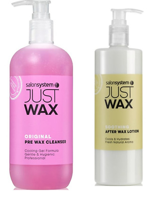 Salon System Just Wax Cleansing Pre Wax Gel 500ml and Soothing After Wax Lotion