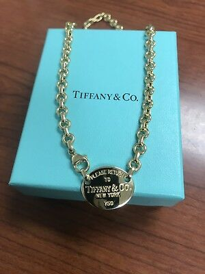 a3e543c5a Tiffany & Co 18k Yellow Gold Oval Return to Tiffany Tag Pendant Chain  Necklace