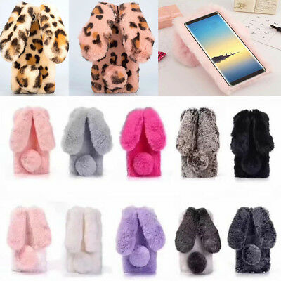 Luxury Fluffy Rabbit Fur Crystal Rhinestone Soft Case Cover For Samsung Phone