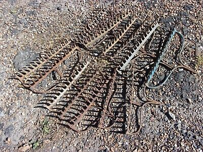 Lot Of 14 Vtg Antique Iron Rake Head Garden Tool Wine Rack Rusty Primitive Farm