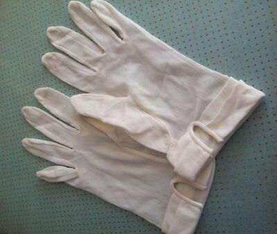 Vintage Pair of Cream Ivory Stretch Sheer Nylon Beaded Women Gloves with Beads