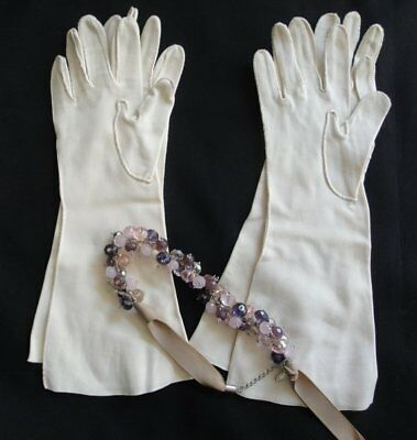 Two Vintage Pairs of Cream Beige Stretch Women Mid Length Gloves with Embroidery