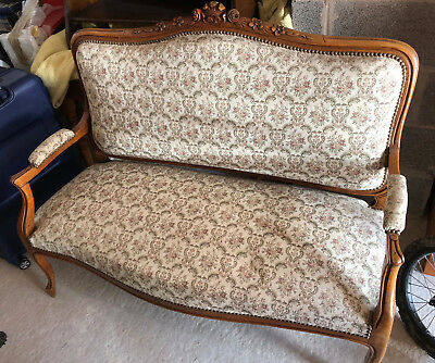 Two Seat Antique Sofa Louis XV Style Chair, Chaise Lounge Oak Look