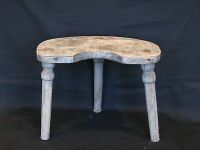 Old Antique Primitive Wooden Wood Three Legged Milking Stool Chair Early 20th