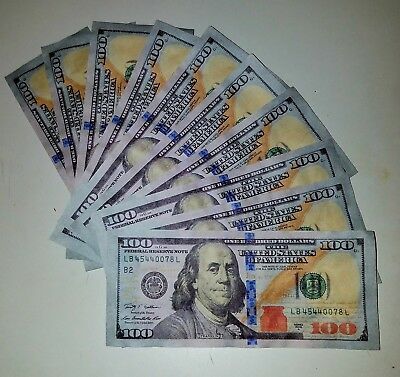 TEN (10) Fake Prop Play Gag  10 X $100 New Style Money Props