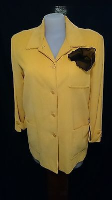 Geiger Ladies Vintage Jacket  in Canary Yellow Corduroy Size 14