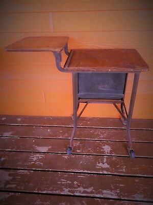 Antique 1930's ? Vintage industrial Typewriter Stand Table wood top Wing Typing