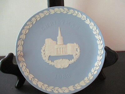 "Wedgwood Blue Jasperware 1983 Christmas Plate ""All Souls London"" 8 1/4"" Wedgwood"
