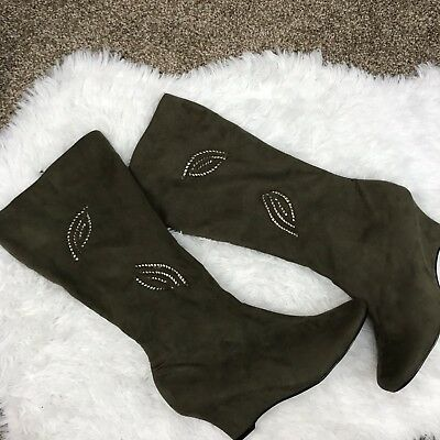 8e2d234b518 ATMOSPHERE WOMENS BOOTS Wedge Low Heel Green Suede Zipper Knee High Gold  Size 8