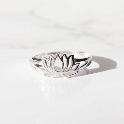 Sterling Silver Lotus Flower Pattern Band Statement Stacking Ring