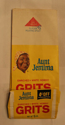 Aunt Jemima Original 1960s 5lbs. Enriched White Hominy Grits Bag