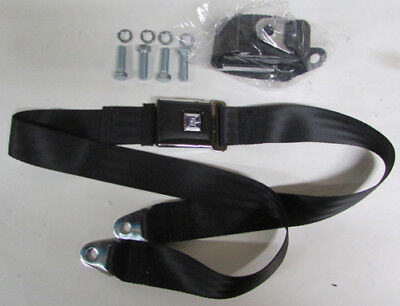 """GM Mark Of Excellence Chevy Black Lap Seat Belts (2) With Mounting Kit: 60"""""""