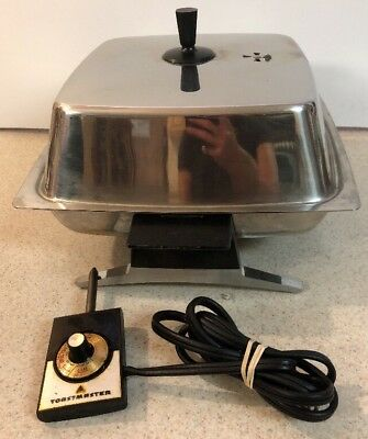 Rare Vintage Toastmaster Electric Skillet Stainless  Frying Pan Model P803