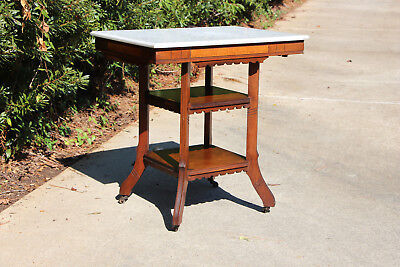 Solid Walnut Victorian Marble Top Eastlake Parlor Table with Two Display Shelves