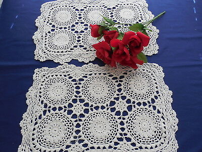 Vintage White Crocheted Medallion Placemats Set of 2