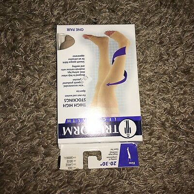 TRUFORM 20-30 mmHg Compression Classic Thigh High Stockings BEIGE / LARGE