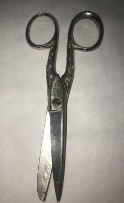Silver Scissors HENRY SEARS CO Prussia  5.5 In Flowers Floral Vintage Antique