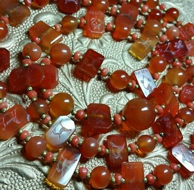 Vintage Chinese Genuine Carnelian Faceted Salmon Coral Amoi Bead Necklace