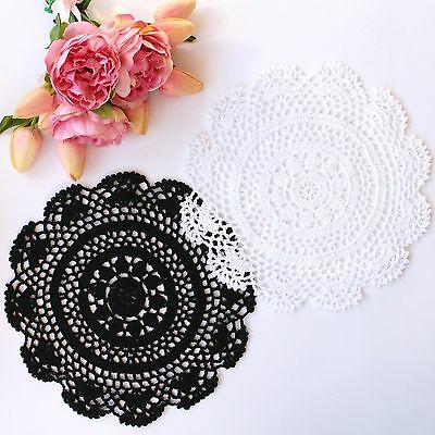 Crochet doilies white and black 25 - 26cm for millinery and crafts