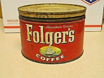 Vintage 1959 Folger's Coffee Tin Can with Lid