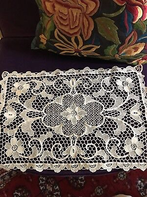 Antique Point de Venise Lace Runner Ecru Rose Floral 1900's Ornate