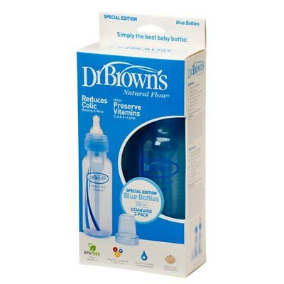 Dr Brown's 240ml Anti Colic Narrow Neck Baby Bottle Twin Blue 2pk
