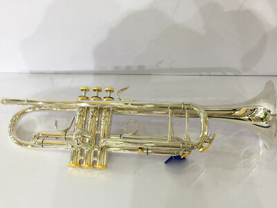 """Top new silver plated Bb trumpet horn with mouthpiece case 4-7/8"""" bell"""