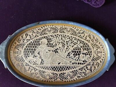 Antique Lace Point De Venise Figural Blue Bakelite/Celluloid Oval Dresser Tray
