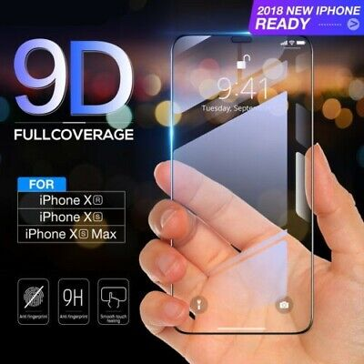 2PCS For iPhone X XS Max XR 9D 9H Full Coverage Tempered Glass Screen Protector