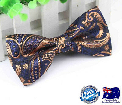 Quality Formal Wedding Party Navy Blue Bronze Paisley  Men Bow Tie Bowtie