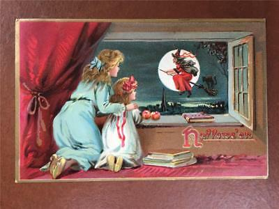Beautiful 1908 Halloween Embossed Postcard Mother Child watching Witch TUCK