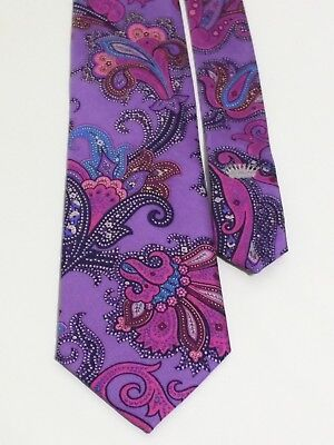 Countess Mara Pink Purple Navy Blue Paisley Floral Bouquet Silk Luxury Tie 60""