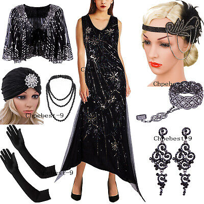 Vintage 1920s V Neck Flapper Dress Sequins Beaded Irregular Long Evening Dresses