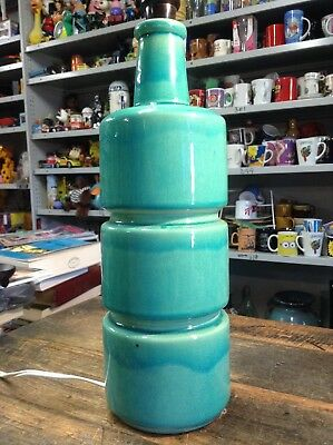 BRT Original Mid Cent. Groovy Large Size Aqua Marine Pottery Table Lamp