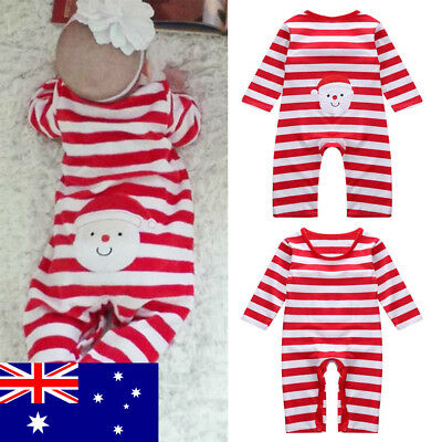 Toddler Baby Boys Girls Xmas Print Jumpsuit Long Sleeve Bodysuit Outfit AU Stock