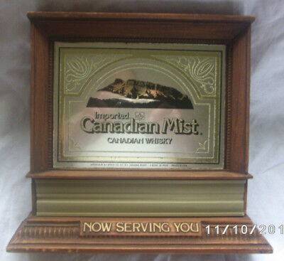 Vintage Canadian Mist Whiskey Mirrored Sign Plaque Now Serving You